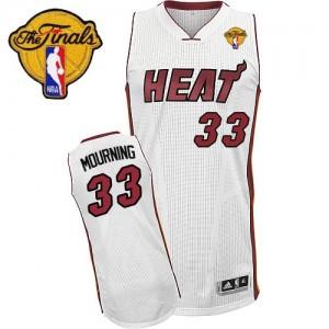 Miami Heat Alonzo Mourning #33 Home Finals Patch Authentic Maillot d'équipe de NBA - Blanc pour Homme