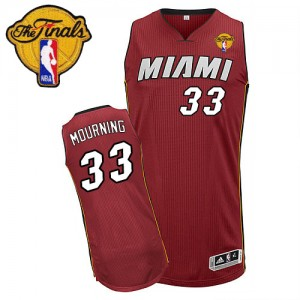Maillot Adidas Rouge Alternate Finals Patch Authentic Miami Heat - Alonzo Mourning #33 - Homme