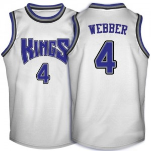 Maillot NBA Sacramento Kings #4 Chris Webber Blanc Adidas Swingman Throwback - Homme