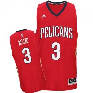 New Orleans Pelicans Omer Asik #3 Alternate Authentic Maillot d'équipe de NBA - Rouge pour Homme