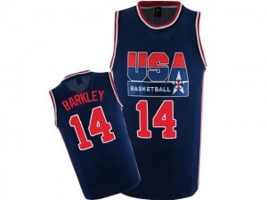 Maillot NBA Team USA #14 Charles Barkley Bleu marin Nike Authentic 2012 Olympic Retro - Homme