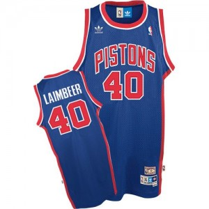 Maillot Authentic Detroit Pistons NBA Throwback Bleu - #40 Bill Laimbeer - Homme