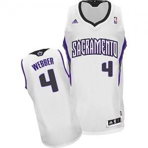Maillot NBA Sacramento Kings #4 Chris Webber Blanc Adidas Swingman Home - Homme