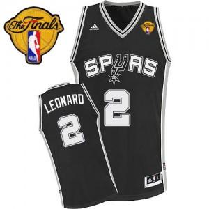 San Antonio Spurs #2 Adidas Road Finals Patch Noir Swingman Maillot d'équipe de NBA pas cher - Kawhi Leonard pour Enfants