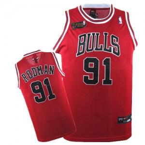 Chicago Bulls #91 Nike Champions Patch Rouge Authentic Maillot d'équipe de NBA 100% authentique - Dennis Rodman pour Homme