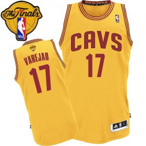 Maillot NBA Or Anderson Varejao #17 Cleveland Cavaliers Alternate 2015 The Finals Patch Authentic Homme Adidas