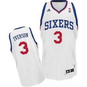 Philadelphia 76ers #3 Adidas Home Blanc Swingman Maillot d'équipe de NBA sortie magasin - Allen Iverson pour Enfants