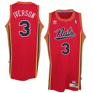 "Philadelphia 76ers Allen Iverson #3 Throwback ""Nats"" Authentic Maillot d'équipe de NBA - Rouge pour Homme"