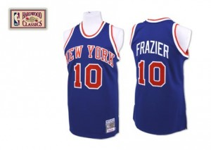 Maillot NBA Bleu royal Walt Frazier #10 New York Knicks Throwback Authentic Homme Mitchell and Ness