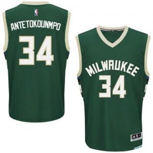 Milwaukee Bucks Giannis Antetokounmpo #34 Road Authentic Maillot d'équipe de NBA - Vert pour Homme