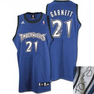 Minnesota Timberwolves Kevin Garnett #21 Augotraphed Authentic Maillot d'équipe de NBA - Slate Blue pour Homme