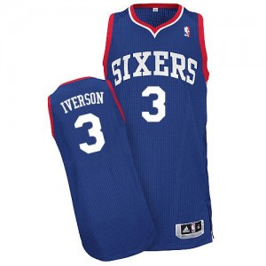 Philadelphia 76ers Allen Iverson #3 Alternate Authentic Maillot d'équipe de NBA - Bleu royal pour Homme