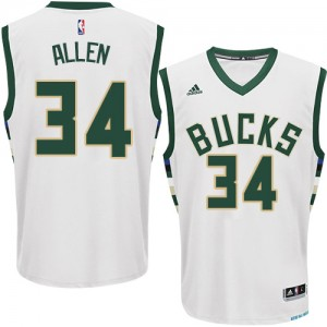 Maillot NBA Milwaukee Bucks #34 Ray Allen Blanc Adidas Authentic Home - Homme