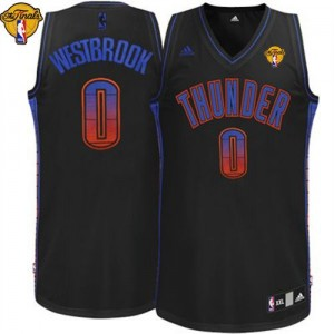 Maillot NBA Noir Russell Westbrook #0 Oklahoma City Thunder Vibe Finals Patch Swingman Homme Adidas