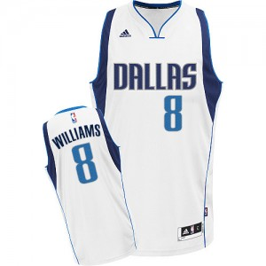 Maillot NBA Blanc Deron Williams #8 Dallas Mavericks Home Swingman Homme Adidas