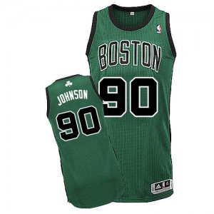 Boston Celtics Amir Johnson #90 Alternate Authentic Maillot d'équipe de NBA - Vert (No. noir) pour Homme
