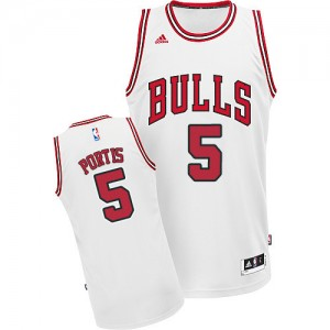 Maillot NBA Blanc Bobby Portis #5 Chicago Bulls Home Swingman Homme Adidas