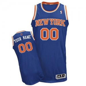 Maillot NBA Bleu royal Authentic Personnalisé New York Knicks Road Homme Adidas