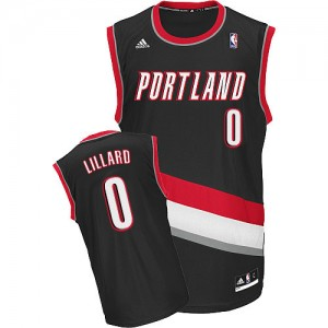 Maillot NBA Noir Damian Lillard #0 Portland Trail Blazers Road Swingman Homme Adidas