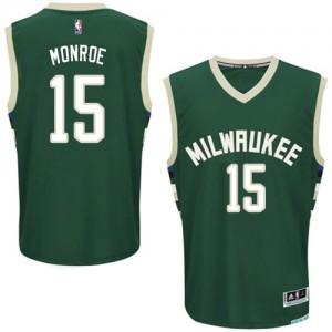 Maillot NBA Vert Greg Monroe #15 Milwaukee Bucks Road Authentic Homme Adidas