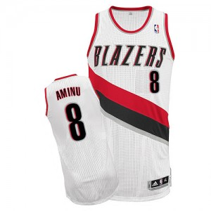 Maillot NBA Portland Trail Blazers #8 Al-Farouq Aminu Blanc Adidas Authentic Home - Homme