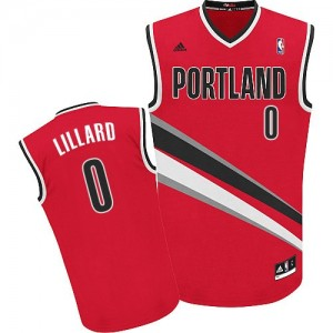 Maillot NBA Portland Trail Blazers #0 Damian Lillard Rouge Adidas Swingman Alternate - Femme