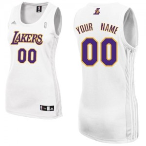 Maillot NBA Los Angeles Lakers Personnalisé Swingman Blanc Adidas Alternate - Femme