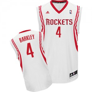 Houston Rockets Charles Barkley #4 Home Swingman Maillot d'équipe de NBA - Blanc pour Homme