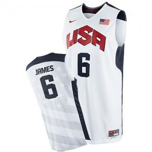 Maillot NBA Blanc LeBron James #6 Team USA 2012 Olympics Authentic Homme Nike