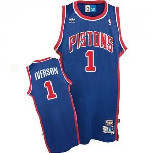 Detroit Pistons #1 Adidas Throwback Bleu Swingman Maillot d'équipe de NBA vente en ligne - Allen Iverson pour Homme