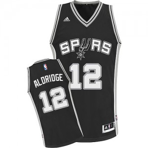 Maillot NBA Noir LaMarcus Aldridge #12 San Antonio Spurs Road Swingman Enfants Adidas