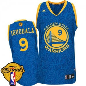 Maillot Authentic Golden State Warriors NBA Crazy Light 2015 The Finals Patch Bleu - #9 Andre Iguodala - Homme