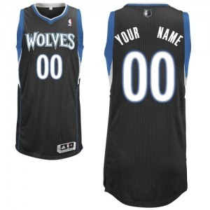 Minnesota Timberwolves Personnalisé Adidas Alternate Noir Maillot d'équipe de NBA pas cher - Authentic pour Enfants