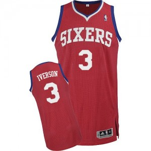Maillot NBA Authentic Allen Iverson #3 Philadelphia 76ers Road Rouge - Homme