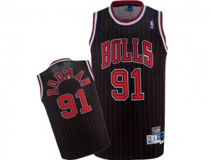 Maillot Authentic Chicago Bulls NBA Throwback Noir Rouge - #91 Dennis Rodman - Homme