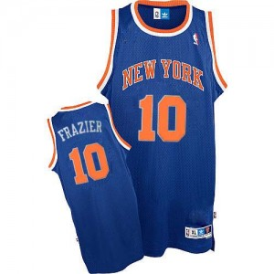 Maillot NBA New York Knicks #10 Walt Frazier Bleu royal Adidas Authentic Throwback - Homme
