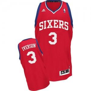 Maillot NBA Philadelphia 76ers #3 Allen Iverson Rouge Adidas Swingman Road - Enfants