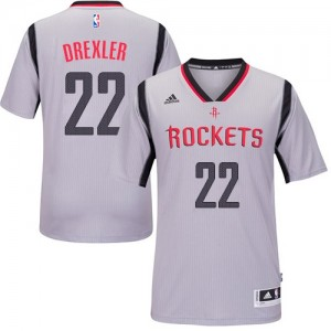 Houston Rockets Clyde Drexler #22 Alternate Authentic Maillot d'équipe de NBA - Gris pour Homme