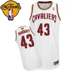 Maillot NBA Blanc Brad Daugherty #43 Cleveland Cavaliers Home 2015 The Finals Patch Authentic Homme Adidas