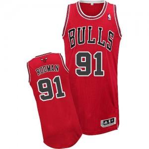 Chicago Bulls Dennis Rodman #91 Road Authentic Maillot d'équipe de NBA - Rouge pour Homme
