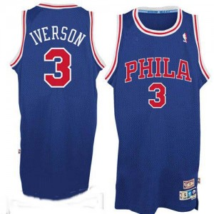 Maillot NBA Philadelphia 76ers #3 Allen Iverson Bleu / Rouge Adidas Authentic Throwack - Homme