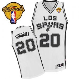 Maillot Authentic San Antonio Spurs NBA ABA Hardwood Classic Finals Patch Blanc - #20 Manu Ginobili - Homme