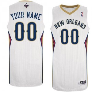 Maillot NBA Blanc Authentic Personnalisé New Orleans Pelicans Home Homme Adidas