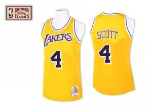 Los Angeles Lakers #4 Mitchell and Ness Throwback Or Swingman Maillot d'équipe de NBA en ligne - Byron Scott pour Homme