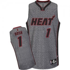 Maillot Authentic Miami Heat NBA Static Fashion Gris - #1 Chris Bosh - Homme