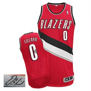 Maillot NBA Portland Trail Blazers #0 Damian Lillard Rouge Adidas Authentic Alternate Autographed - Homme