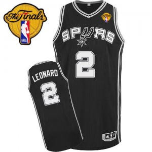 Maillot Adidas Noir Road Finals Patch Authentic San Antonio Spurs - Kawhi Leonard #2 - Enfants