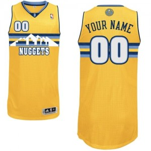 Maillot NBA Denver Nuggets Personnalisé Authentic Or Adidas Alternate - Femme