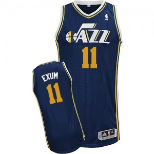 Maillot NBA Authentic Dante Exum #11 Utah Jazz Road Bleu marin - Homme