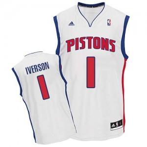 Maillot Swingman Detroit Pistons NBA Home Blanc - #1 Allen Iverson - Homme